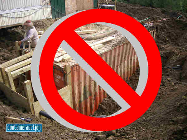 There's a lot more that you have to consider if you're thinking about burying a shipping container to be used as a bunker. They're not designed for that and you could end up being crushed if you don't know what you're doing. - Don't bury a shipping container as a shelter until you read this article - http://graywolfsurvival.com/2625/why-you-shouldnt-bury-a-shipping-container-for-a-shtf-bunker/