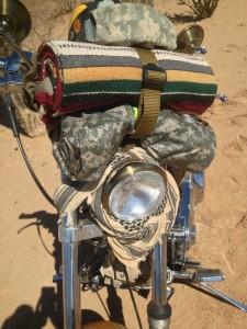Desert warrior harley motorcycle beer bottle opener on front forks