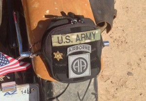 Desert warrior harley motorcycle rear pouch