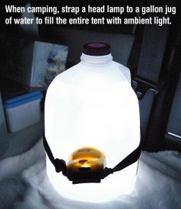 Put headlamp on gallon jug for light when camping