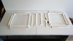 swamp cooler PVC framework pieces laid out
