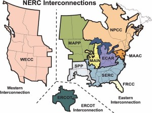 The four NERC Interconnections, and the eight NERC Regional Reliability Councils.