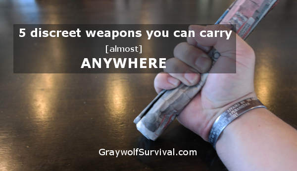 You can't always carry a weapon to defend yourself but with a little creativity and some training, there are many discreet weapons you can improvise. http://graywolfsurvival.com/?p=47375